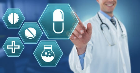 Digital composite of Male doctor interacting with medical hexagon interface Stock Photo