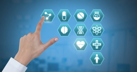 Digital composite of Doctor hand interacting with medical hexagon interface Stock Photo