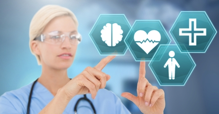 Digital composite of Female doctor interacting with medical hexagon interface