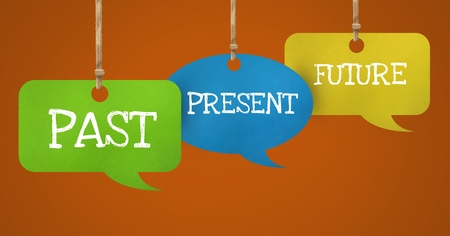 Digital composite of Past Present Future text on hanging paper speech bubbles