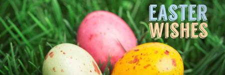 Easter greeting against three little easter eggs