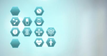 Digital composite of medical hexagon interface Archivio Fotografico - 96935559