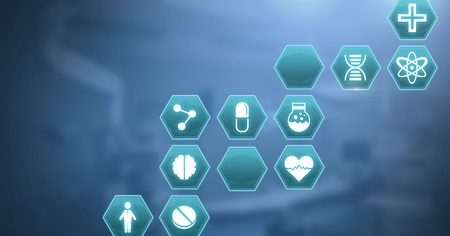 Digital composite of medical hexagon interface