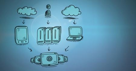 Digital composite of Servers network drawing doodles