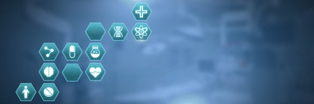 Digital composite of medical hexagon interface
