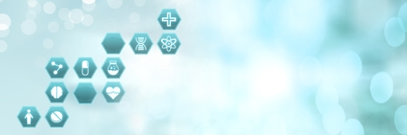 Digital composite of medical interface hexagon icons 스톡 콘텐츠