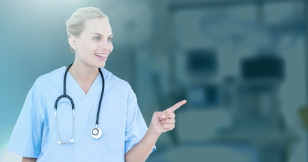 Digital composite of Female doctor interacting with air touch