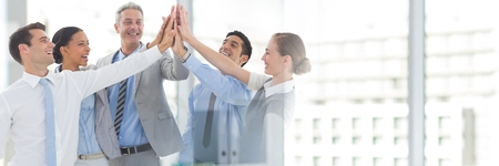 Digital composite of Teamwork transition with business people joining hands