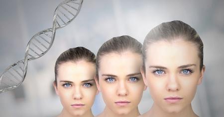 Digital composite of Clone women with genetic DNA Archivio Fotografico - 103160286