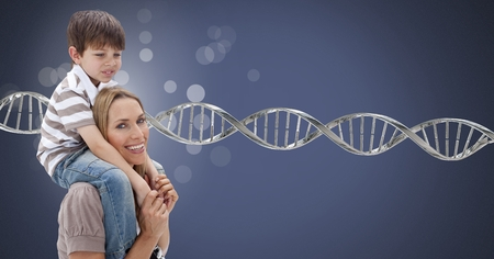Digital composite of Mother and son with sparkles and genetic DNA