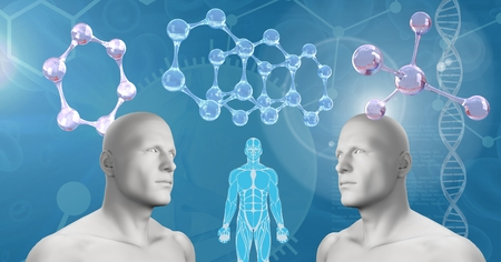 Digital composite of Clone twin 3D men with genetic DNA Stock Photo