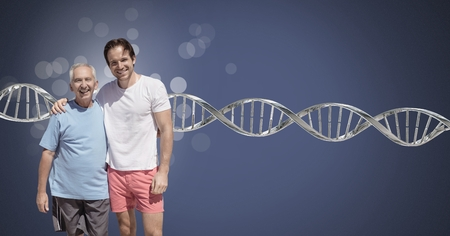 Digital composite of Old father and son with sparkles and genetic DNA Imagens - 103185637