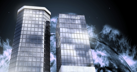 Digital composite of Tall buildings with planet burning background