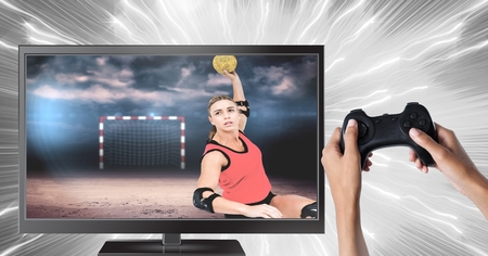 Digital composite of Hands holding gaming controller  with handball player on television