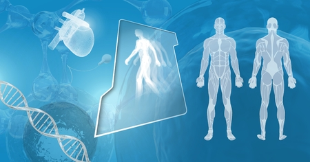 Digital composite of Clone human interfaces with genetic DNA