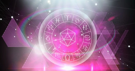 Digital composite of Astrology zodiac with triangle shapes