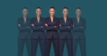 Digital composite of Clone women with arms folded