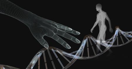Digital composite of Genetic DNA of human transparent Stock Photo