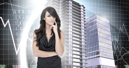 Digital composite of Woman thinking and Buildings with financial economic background Banque d'images - 103409644
