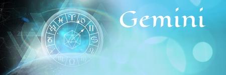 Digital composite of Gemini mystical zodiac astrology Stock Photo