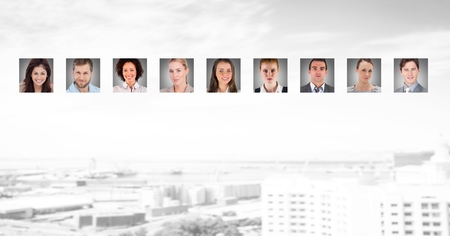 Digital composite of portrait profiles of different people 版權商用圖片