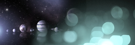 Digital composite of Planets in space and universe with light sparkles