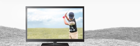 Digital composite of golf player on television Stock Photo