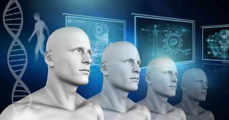 Digital composite of Clone 3D men with genetic DNA