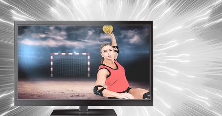 Digital composite of handball player on television