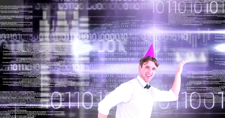 Digital composite of Party man dancing with digital numbers technology interface