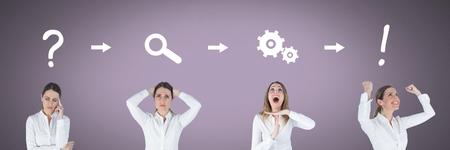 Composito Digitale della donna di affari che pensa in sequenza con le idee e le icone di processo di brainstorming