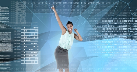 Digital composite of Businesswoman dancing with digital numbers technology interface