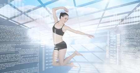 Digital composite of Dancer with digital technology interface