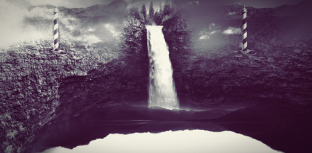 Waterfall in the void and stone