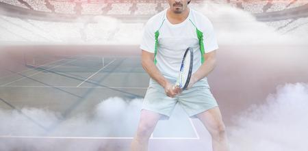 Tennisman against tennis ball on dividing line 版權商用圖片