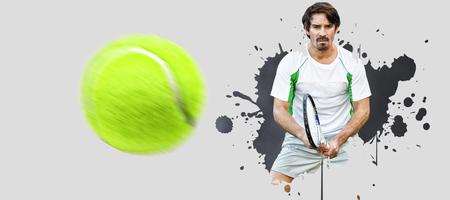Tennisman against grey vignette Stock Photo