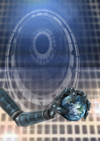 Digital composite of Robotic android hand and holding world earth Glowing circle technology interface