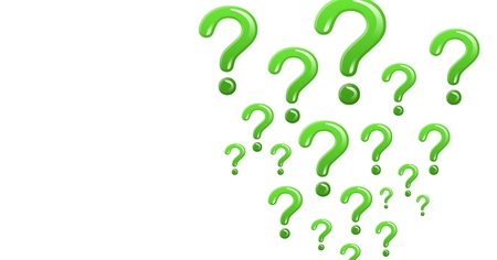Digital composite of green shiny question marks Stock Photo