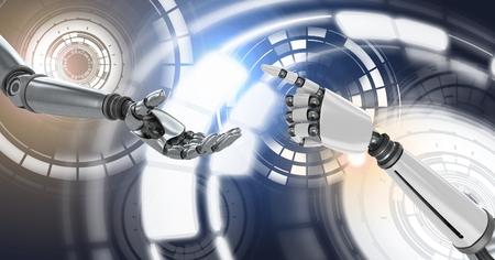 Digital composite of Robot android hands touching reaching and Glowing circle technology interface Stock Photo