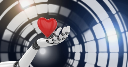 Digital composite of Robotic android hand holding heart and Glowing circle technology interface