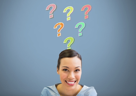 Digital composite of Woman with colorful funky question marks emerging from head