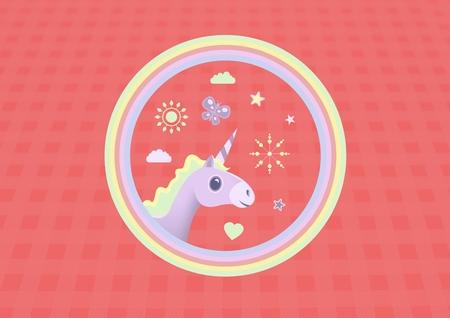 Digital composite of Unicorn illustration in rainbow circle