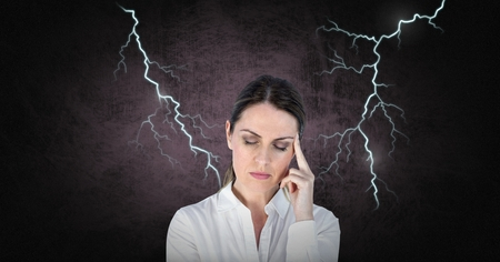 Digital composite of Lightning_Lightning_0010Lightning strikes and stressed woman with headache holding head
