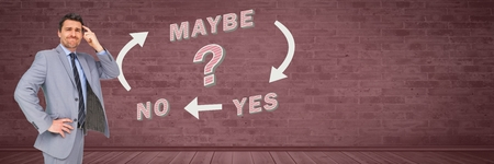 Digital composite of Man thinking with Yes No Maybe with arrows graphic on wall