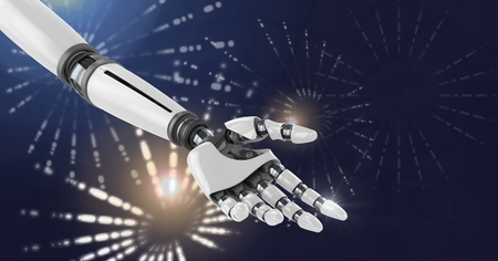 Digital composite of Robot android hand with Glowing firework circle shapes