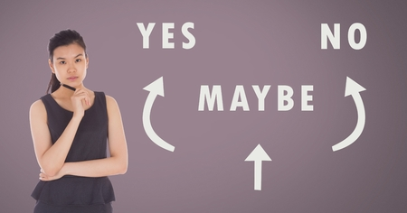 Digital composite of Woman thinking Yes No Maybe text with arrows graphic on pink background
