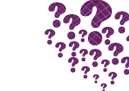 Digital composite of purple thatched question marks