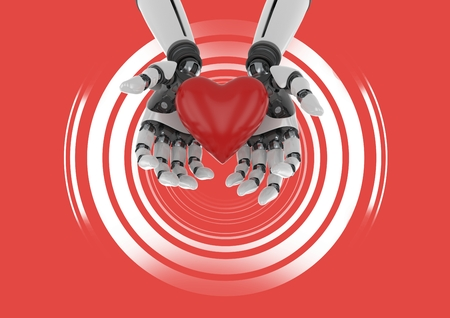 Digital composite of Robotic android hands with heart and Shimmering circles on red background Imagens