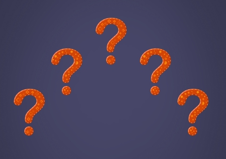 Digital composite of purple stitched question marks Stock Photo