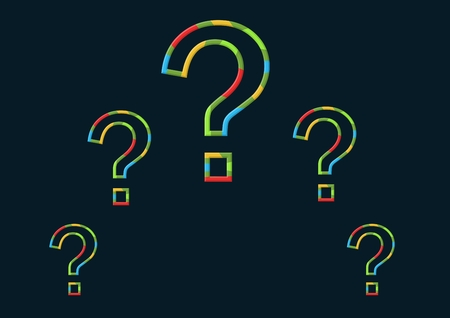 Digital composite of colorful question marks and black background
